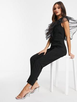 WOMEN Rare London v neck jumpsuit with frill detail in black