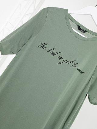 WOMEN Yours the best is yet to come slogan t-shirt in khaki
