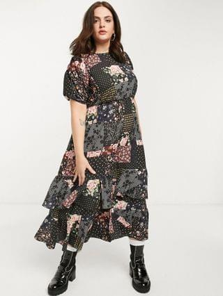 WOMEN New Girl Order Curve oversized midi smock dress in patchwork floral