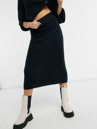 WOMEN cable cardigan and skirt co-ord in navy
