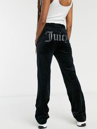 WOMEN Juicy Couture velour tracksuit bottoms in black