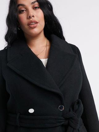 WOMEN Ever New Curve long wrap coat in black