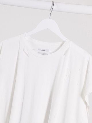 Sixth June longline t-shirt with distressing detail in white