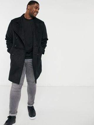 Plus wool mix double breasted coat with military detail in black