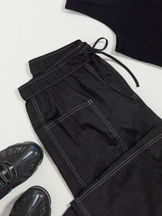 WOMEN COLLUSION crinkle nylon wide leg pants with seam detail in black