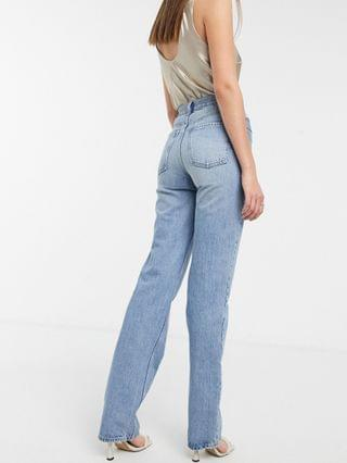WOMEN Tall recycled mid rise '90's' straight leg jeans in greencast