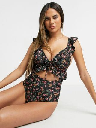 WOMEN Peek & Beau Fuller Bust Exclusive cut out swimsuit with ruffle in winter floral