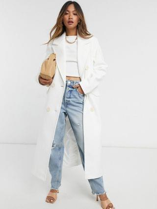 WOMEN River Island power shoulder single breasted coat in white