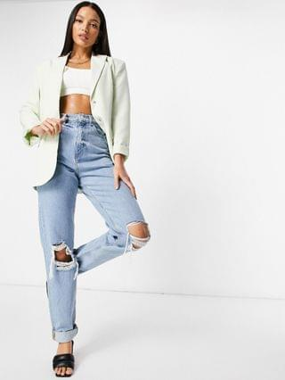 WOMEN Tall recycled high rise 'slouchy' mom jeans with rips in lightwash