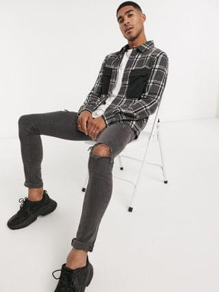 Religion check print double pocket shirt in gray