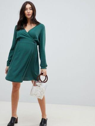 WOMEN Maternity casual wrap mini dress with long sleeves in forest green