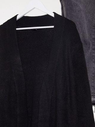 WOMEN New Look Curve long line rib cardigan in black
