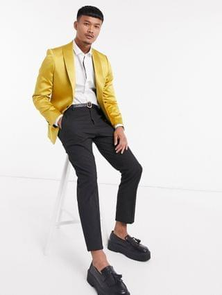 Twisted Tailor sateen suit jacket with shawl lapel in mustard