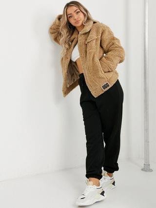 WOMEN UGG Frankie shearling trucker jacket in camel