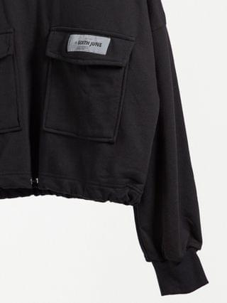 WOMEN Sixth June cropped cargo sweatshirt with toggle waist in black