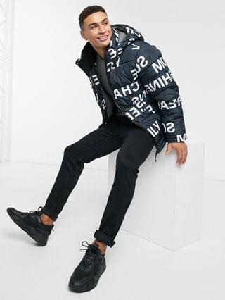 Only & Sons puffer with letter print in black