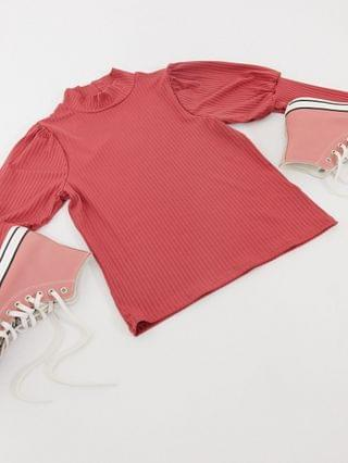 WOMEN New Look ribbed puff sleeve top in raspberry