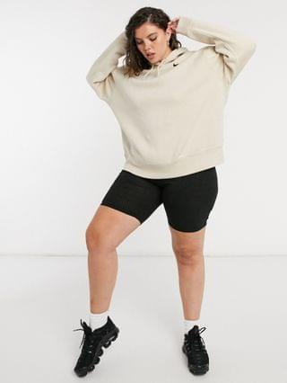 WOMEN Nike Plus trend fleece hoodie with mini swoosh in beige