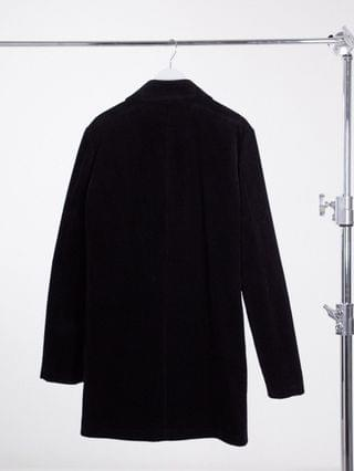 Tall cord trench coat in black