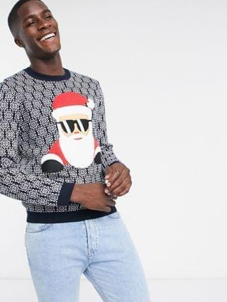 DESGN knitted christmas foundation sweater with cool santa applique