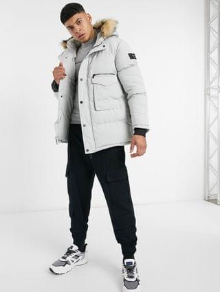 Mauvais parka coat with faux fur hood in light gray