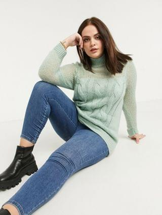 WOMEN Fashion Union Plus sweater in chunky cable knit with sheer panel
