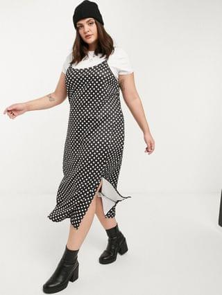 WOMEN Wednesday's Girl Curve midi cami dress with t-shirt inner layer in polka dot