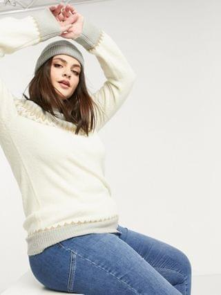 WOMEN Fashion Union Plus relaxed sweater with placement fairisle