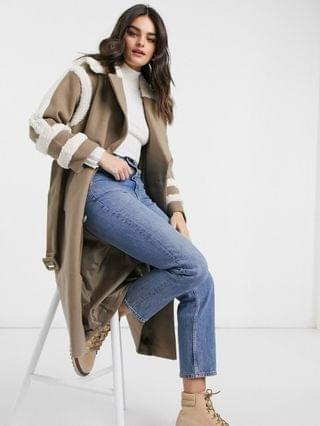 WOMEN Fashion Union trench coat with shearling details