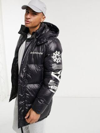 Arcminute all-over print tonal puffer jacket in black