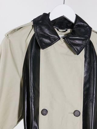 WOMEN Tall spliced vinyl trench coat in stone and black