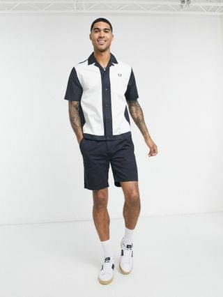 Fred Perry colorblock camp collar short sleeve shirt in navy