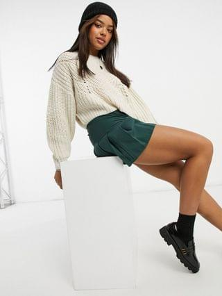 WOMEN Topshop chunky cropped sweater in ivory