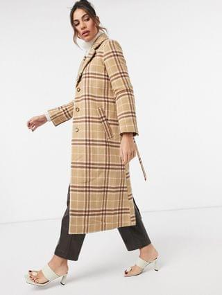 WOMEN & Other Stories wool blend belted check coat in brown