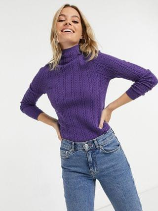 WOMEN Fashion Union Petite high neck sweater in cable knit