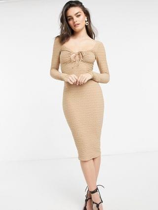 WOMEN long sleeve textured chanelled midi dress in stone