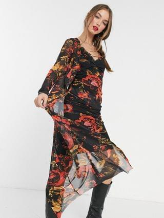 WOMEN Hope & Ivy 90s slip and duster set in black floral