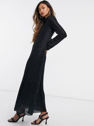 WOMEN & Other Stories recycled beaded maxi dress in black