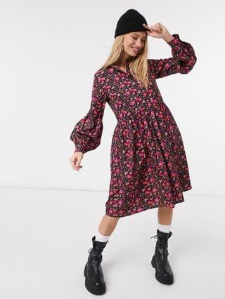 WOMEN Y.A.S midi smock dress in burgundy floral