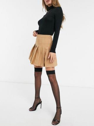 WOMEN Girl In Mind pleated skater skirt in tan