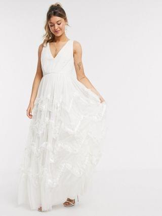 WOMEN Anaya With Love plunge front prom maxi dress with feather effect skirt in white