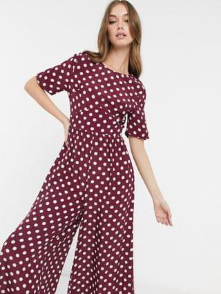 WOMEN tea jumpsuit with button-back detail in burgundy and white dots