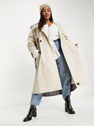 WOMEN Sixth June Plus oversized trench coat with plaid back panel