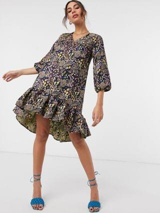 WOMEN Y.A.S mini smock dress with peplum skirt in ditsy floral