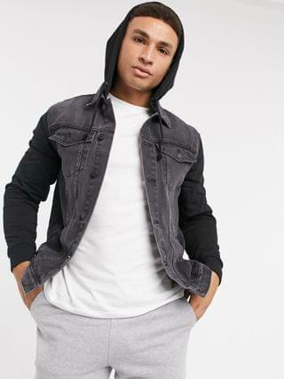 New Look hooded denim jacket with jersey sleeve in black