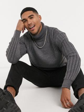 Religion contrast shoulder roll neck sweater in gray