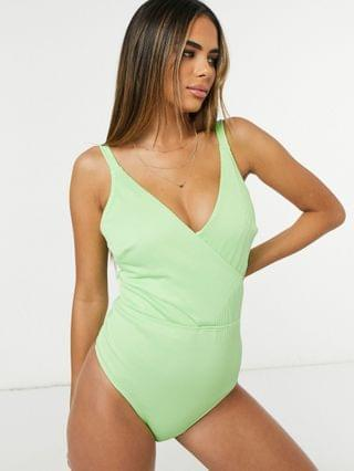 WOMEN Ivory Rose Fuller Bust cut out wrap swimsuit in lime