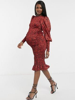 WOMEN Maternity shirred midi tea dress with puff sleeves and shirred cuff in red leopard print