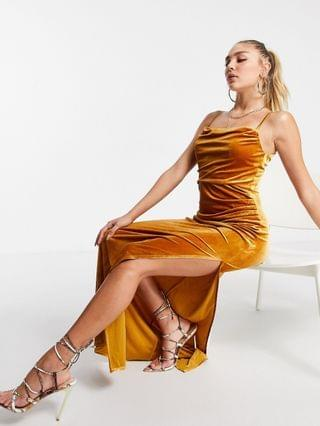 WOMEN Jaded Rose exclusive velvet cami maxi dress with thigh slit in mustard
