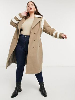WOMEN Fashion Union Plus trench coat with shearling details